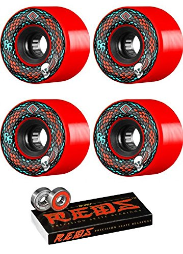 (Powell-Peralta 66mm Snakes Red/Black Skateboard Wheels - 75a with Bones Bearings - 8mm Bones Reds Precision Skate Rated Skateboard Bearings (8) Pack - Bundle of 2)