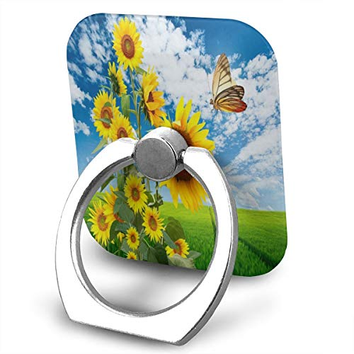 Price comparison product image Ring Holder Big Sunflowers and A Beautiful Butterfly Ring Phone Holder Adjustable 360° Rotation Phone Stand for IPad, Kindle, Phone X/6/6s/7/8/8 Plus/7, Divi, Accessories Desk, Android Smartphone