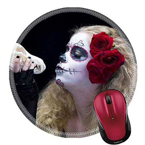 Liili Round Mouse Pad Natural Rubber Mousepad IMAGE ID: 16976392 Close up shot of a female wearing traditional sugar skull make up and holding animal skull against ark background