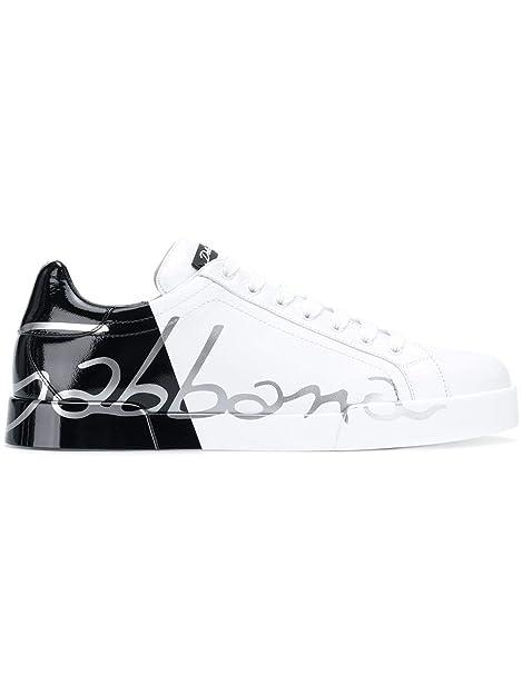 Dolce   Gabbana Sneakers Uomo CS1600AI053HN821 Pelle Bianco Nero ... 2ece325e02c
