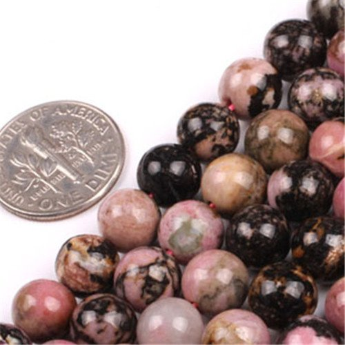 GEM-insid Rhodonite Gemstone Loose Beads Natural Energy Power Beads For Jewelry Making 8mm Round 15""