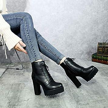 Shukun Botines Zapatos de Mujer de otoño PU tacón Alto súper Grueso con Botines Impermeables Plataforma de Tubo Corto Martin Boots Botas de Mujer: ...