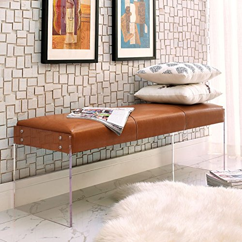Tov Furniture Envy Leather/Acrylic Bench, Brown by Tov Furniture (Image #5)