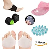 Mortons Neuroma Pads Metatarsal Pads Shoe Inserts For Metatarsalgia Foot Pain Insoles 7 PCS Ball of Foot Cushion Arch Support Insoles Metatarsal Foot Pads