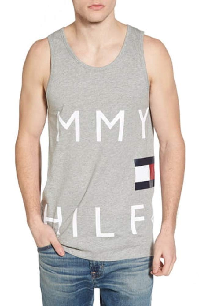 Tommy Hilfiger Men's Modern Essentials Cotton Tank, Grey Heather/All Over Flag Logo, Large by Tommy Hilfiger