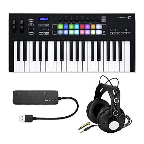 Novation Launchkey MK3 37-Key USB MIDI Keyboard Controller Bundle with Knox Studio Headphones and 4-Port USB 3.0 Hub (3 Items)