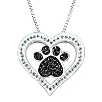 Deals on Crystaluxe Paw & Heart Pendant w/Swarovski Crystals Brass