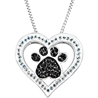 Crystaluxe Paw & Heart Pendant with Swarovski Crystals