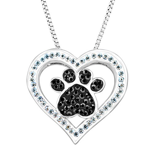 Crystaluxe Paw Heart Pendant with Swarovski Crystals in Sterling Silver-Plated Brass, 18