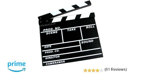 Claqueta de cine, de madera, 31 x 27 cm