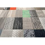 """Nance Industries 17665 Peel and Stick Commercial Carpet Tile, 12"""" x 36"""", Assorted, 10 Planks"""