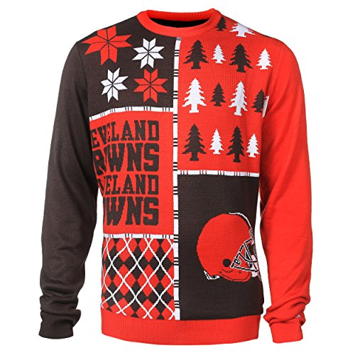 Cleveland Browns Busy Block Ugly Sweater Large