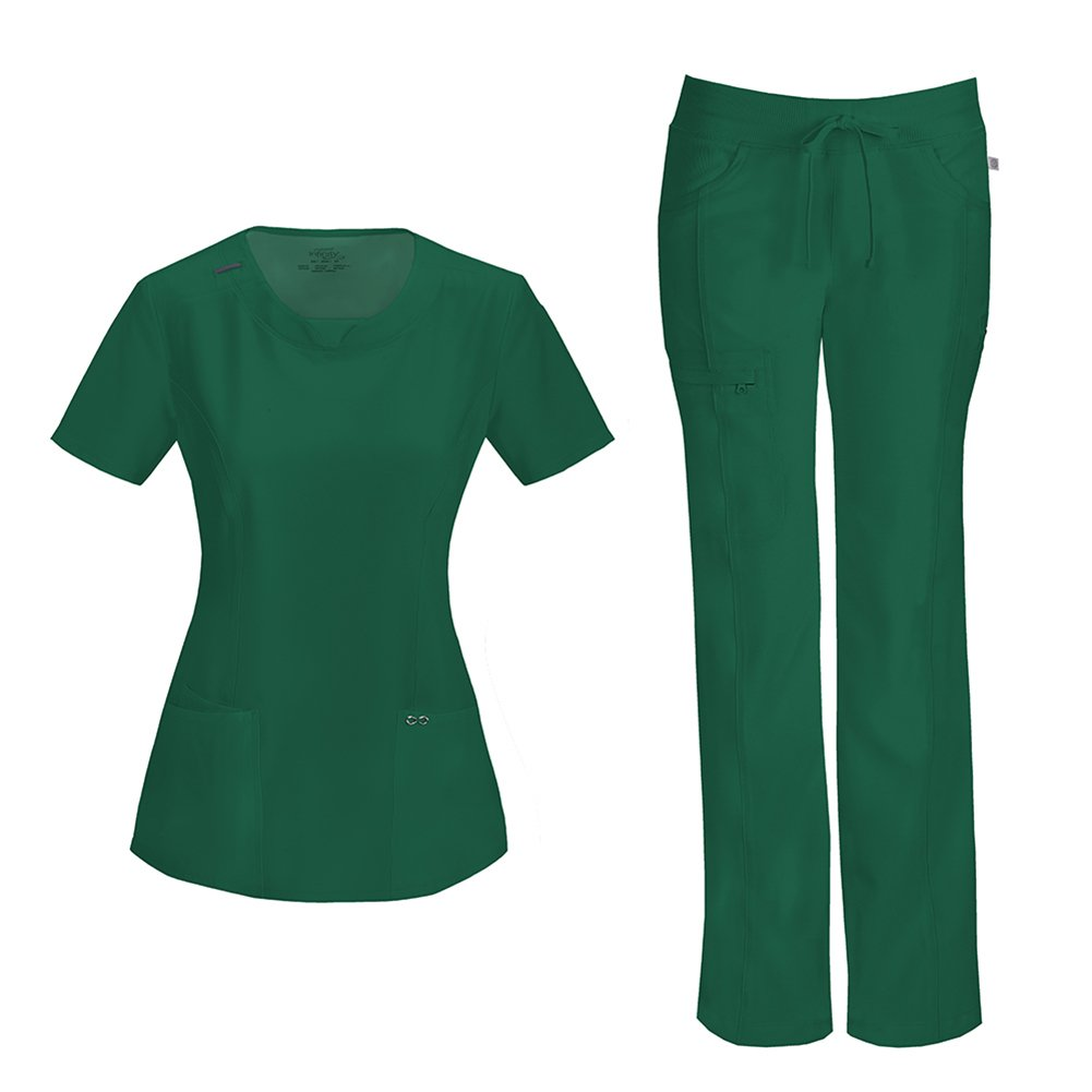 Infinity by Cherokee Womens 2624A Round Neck Top with badge loop & 1123A Straight Leg Low Rise Comfort Pant Medical Uniform Scrub Set Top & Pants (Hunter - XX-Large)