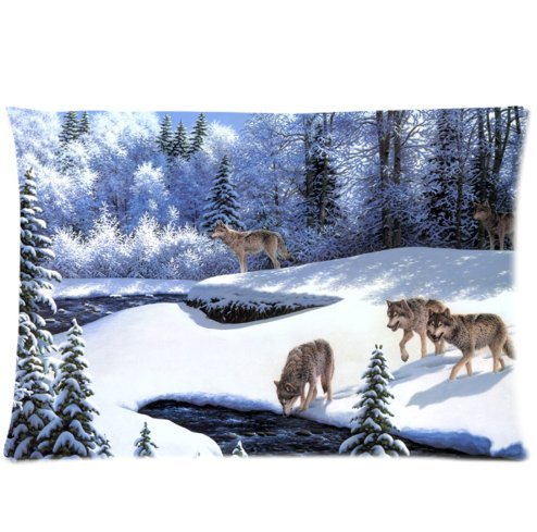 Huirong Pillowcase Design style Cloth Simulation animals wolves wolf pack river snow winter fairy-tale forest trees frost Design Pillow Protector, Best Pillow Cover - standard size 16 X 24 inch two sides printing