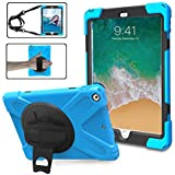 iPad 9.7 2017 2018 Case,TSQ iPad 6th 5th Generation Case Cover For Kids, Corner Protection Defender Shockproof Silicon Rubber Car Case With 360 Degree Rotation Stand,Hand Strap &Shoulder Strap SkyBlue