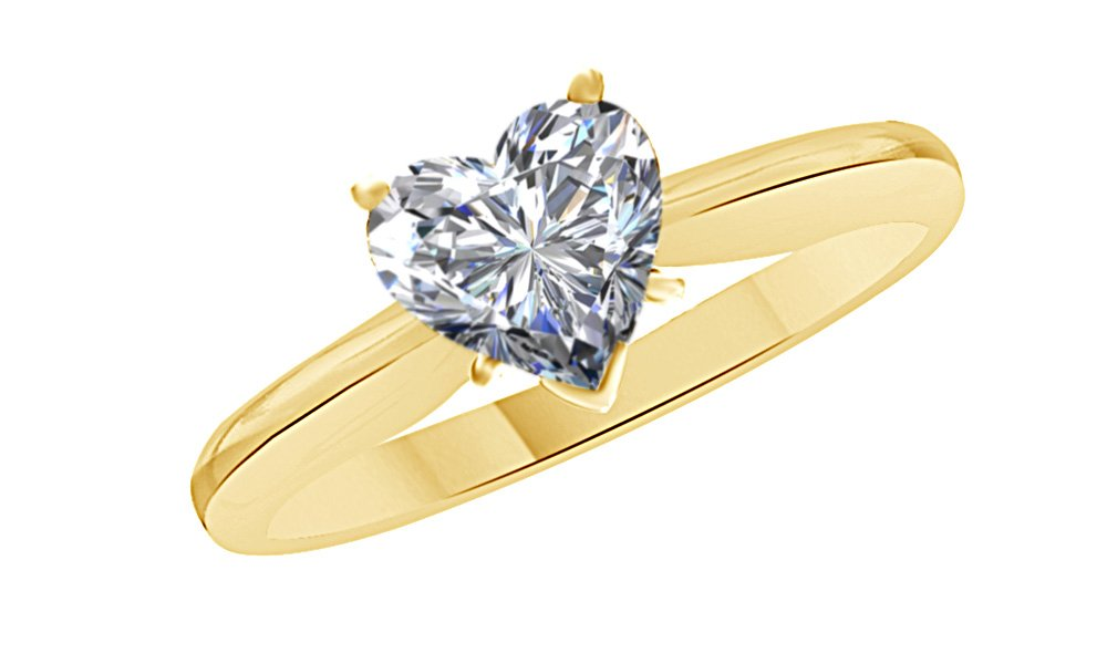 Heart Shaped White Cubic Zirconia Anniversary Solitaire Ring In 14k Gold Over Sterling Silver (5 Carat)