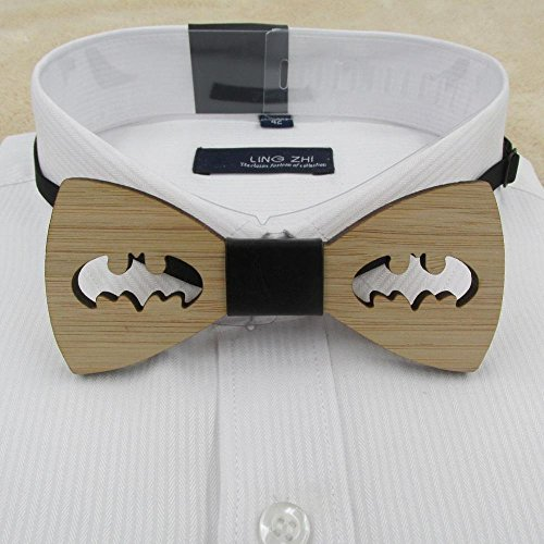 - Hot Fashion Mens Wooden Bow Tie Accessory Wedding Gifts Bamboo Wood Bowtie For Men Bat cut bow tie