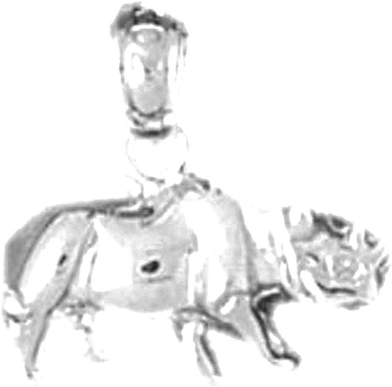 Jewels Obsession Rhinosaurus Pendant Sterling Silver 925 Rhinosaurus Pendant 13 mm