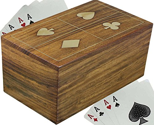 (SKAVIJ Wooden Playing Card Case for 2 Deck Card Holder Decorative Box (4.8 Inch x 3 Inch, Brown))