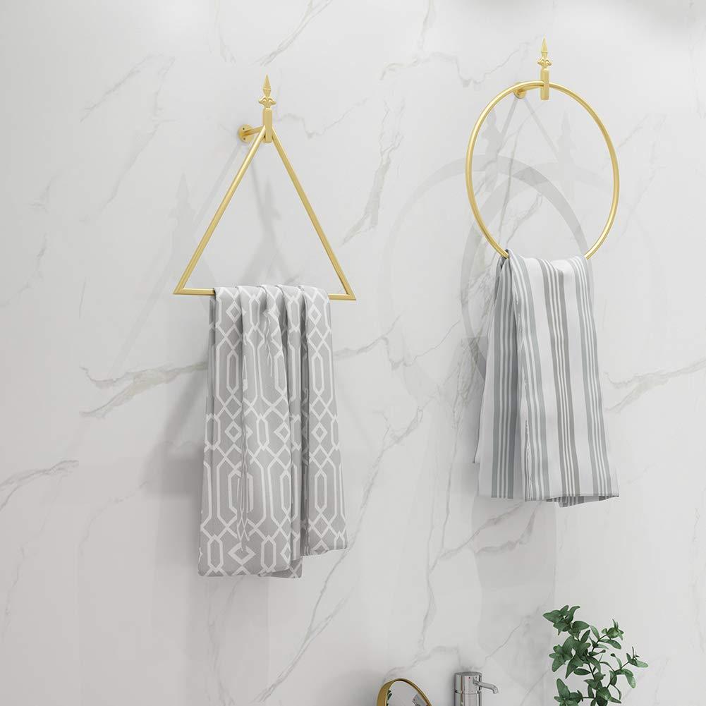Prosperveil Modern Towel Ring Holder Wall Mounted Metal Bathroom Hand Towel Hanger Bar Rack Hanging Rail for Kitchen Bathroom Accessories Wall Decor Round, Gold