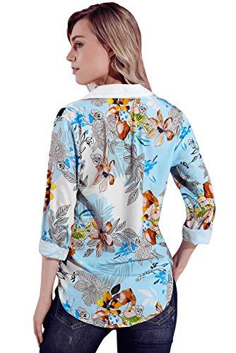 Vintage Travail Floral Casual Chemise Femme Manche Business Imprim Longue Bouton Lukis Col Polo w1qO7WgC