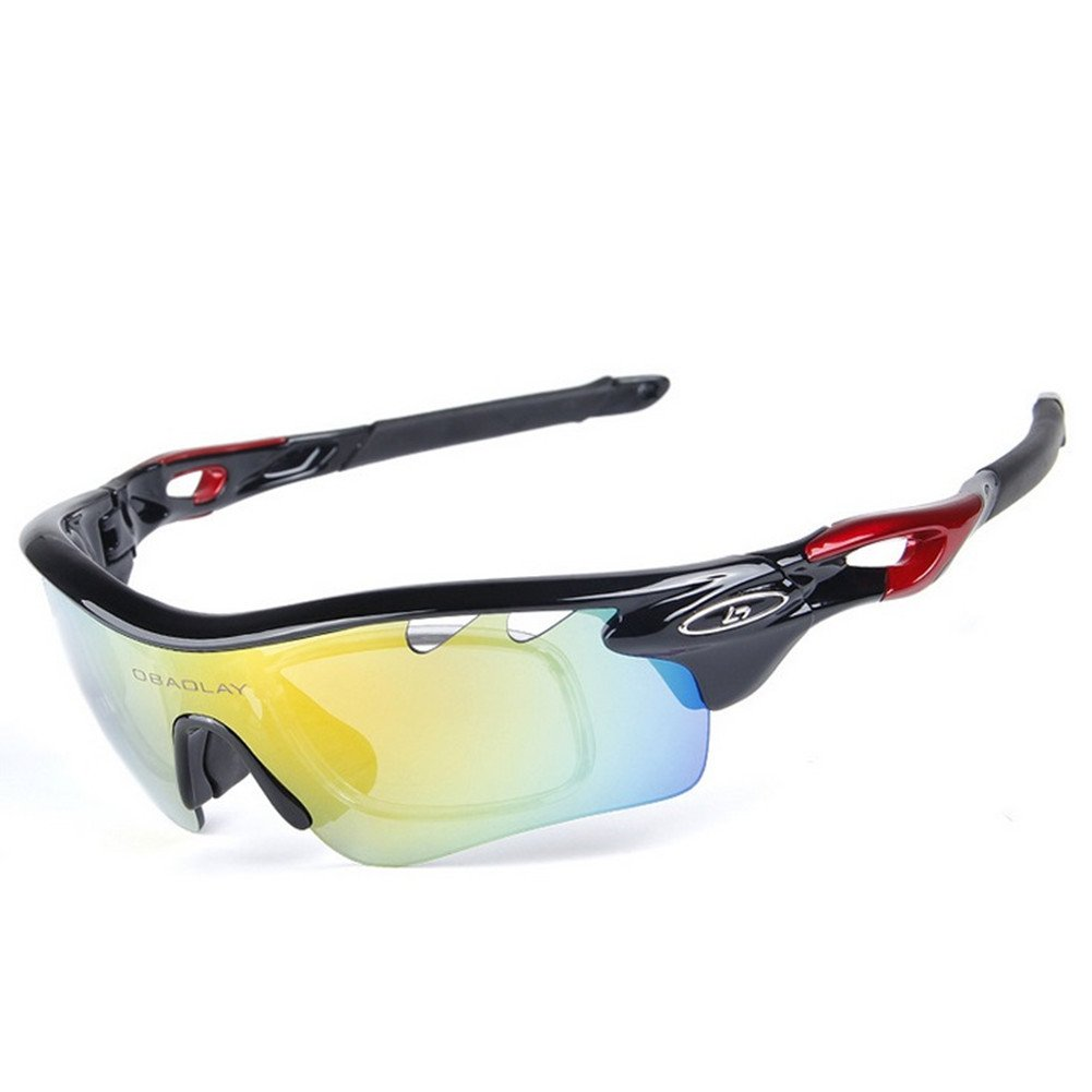 ccab628bc09 Amazon.com   Lorsoul Polarized Sports Sunglasses With 5 Interchangeable  Lenes for Men Women Cycling Running Driving Fishing Golf Baseball Glasses  ...