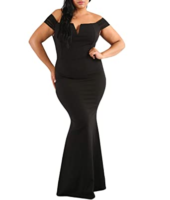 263e1d60c02 MuCoo Women s Plus Size Off Shoulder Long Formal Party Dress Evening Gowns  Dresses Black XL