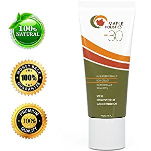 Natural Sunscreen with SPF 30 - Block Sun UVA + UVB Broad Spectrum - Sweat & Water Resistant - Safe for Sensitive Skin - Sunblock Face + Body Lotion - Aloe Vera Fragrance Free - for Women & Men