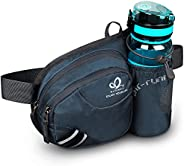 WATERFLY Waist Bag with Water Bottle Holder Hiking Fanny Pack Jogging Traveling Cycling Dog Walking Sports Wai