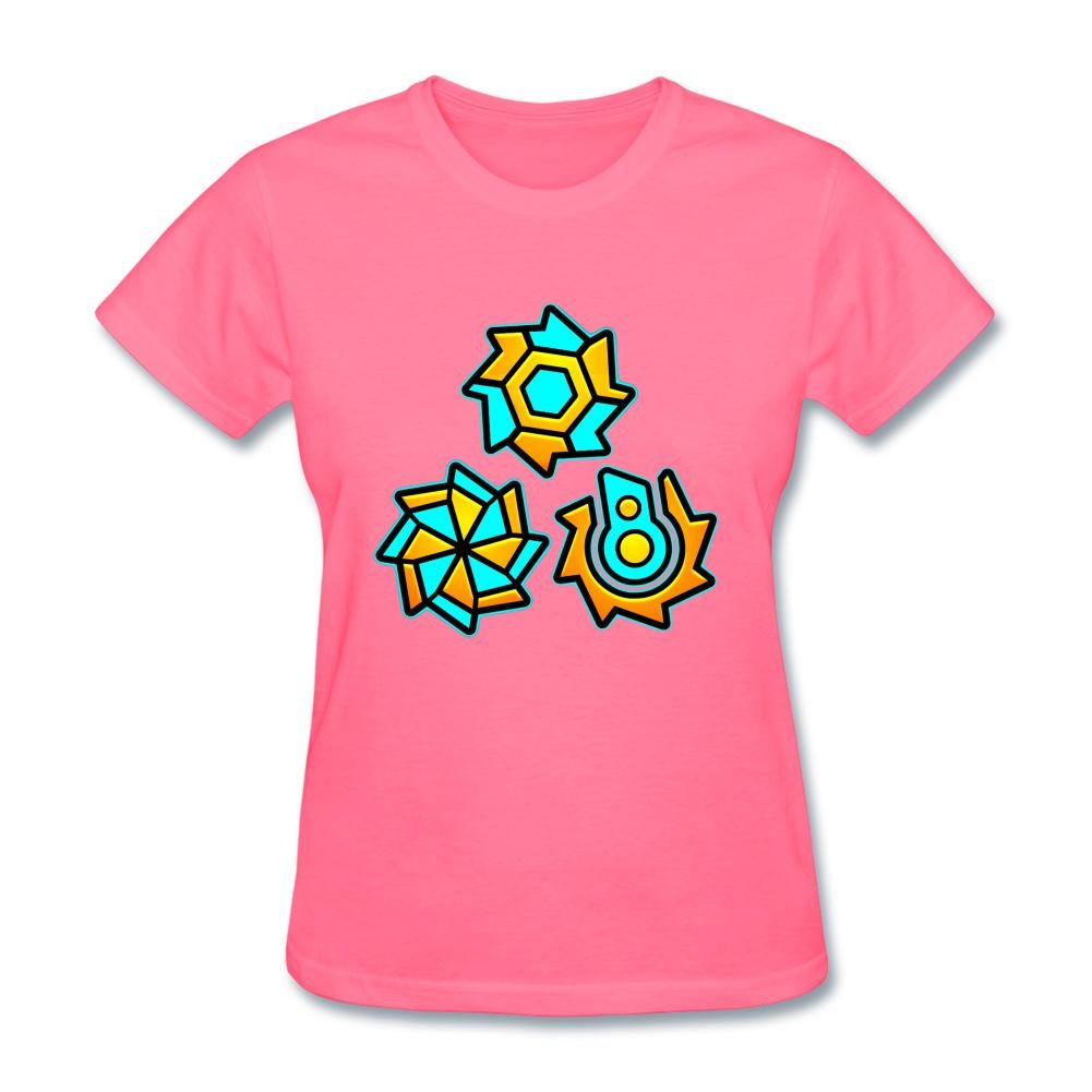 SLJD Women's Geometry Dash Icon Wheel Gear Design Short Sleeve T Shirt
