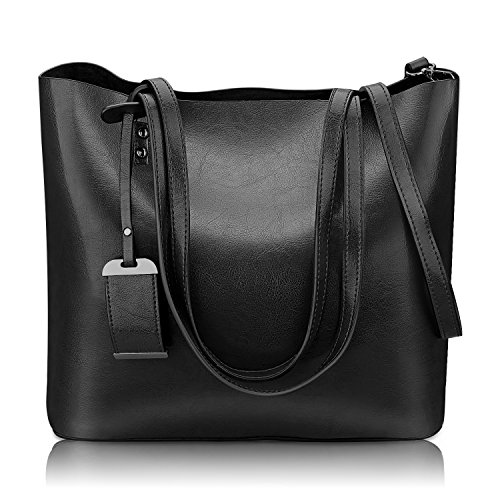 Women Top Handle Satchel Handbags Shoulder Bag Messenger Tote Bag Purse (Black)