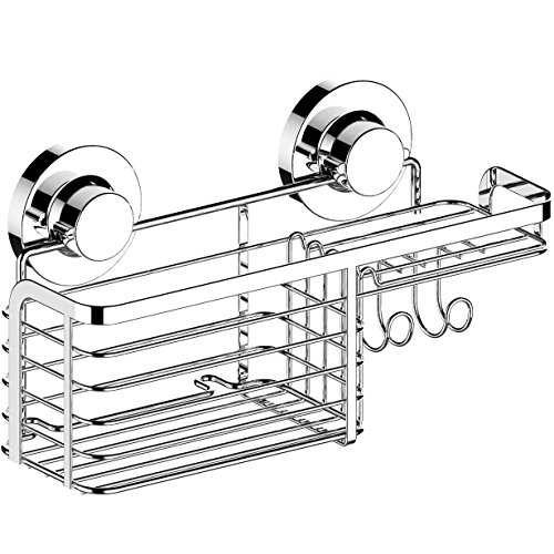 Bar Caddy Chrome - HOME SO Shower Basket Caddy with Suction Cup Holder - Bathroom Tray Hanger for Soap Bars, Sponges, Shampoo, Loofah - Stainless Steel, Chrome