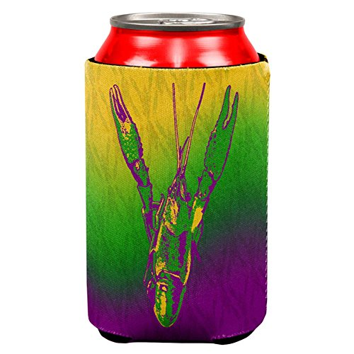 Old Glory Mardi Gras Cajun Crawfish All Over Can Cooler Multi Standard One - Shirts Camp Carnival