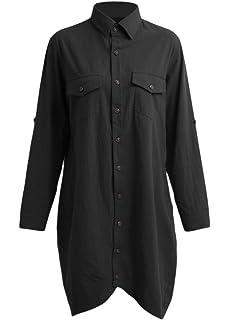 Romacci - Camisa larga de algodón para mujer, con borde irregular y botones, suelta, informal, color blanco, violeta y azul oscuro Negro S: Amazon.es: Ropa y accesorios