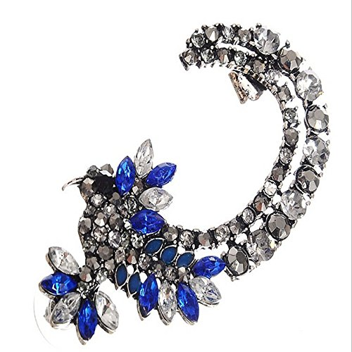 1PC Womens Vogue Silver Hummingbird Crystal Iced Out Ear Cuff Clip Earring Gift EW