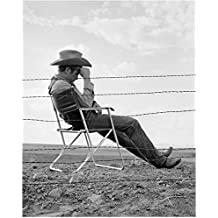James Dean Seated Next to Fence Wearing Cowboy Hat 8 x 10 Inch Photo