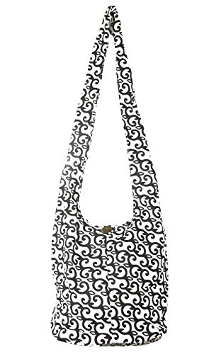 imprimé Ethnique Sac bag noir homme Besace fourre shoulder Coton Bandoulière Coton main bohème femme Artisanal Sac tout Boho blanc à 15rTwFx5q