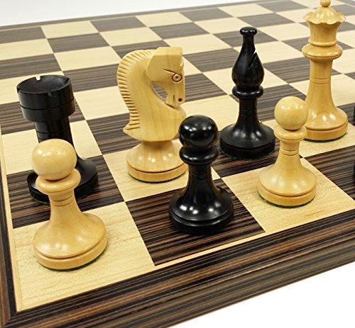 """3 1/2"""" King Staunton Wood Russian Knight Black & Natural Box"""