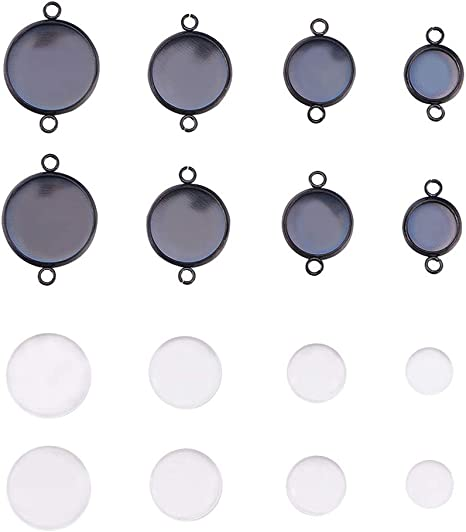 Glass 4 Cabochon Settings Bracelets Flat Back Setting Blanks Jewelry Making