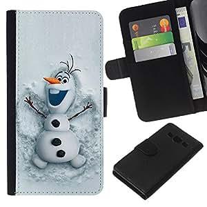 A-type (Snowman Funny Winter Cartoon Kids) Colorida Impresión Funda Cuero Monedero Caja Bolsa Cubierta Caja Piel Card Slots Para Samsung Galaxy A3