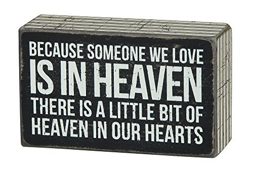 Someone We Love in Heaven Bereavement Sign - Primitives By Kathy - Box Sign - Sympathy - Funeral - Death - Loved Ones - Hearts - Heaven - Black and White - Stripes - Gift Item
