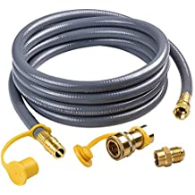 SHINESTAR 12Feet 1/2-inch ID Natural Gas Hose with Quick Connect/Disconnect Fittings & 3/8 Female to 1/2 Male Adapter for Outdoor NG/Propane Appliance
