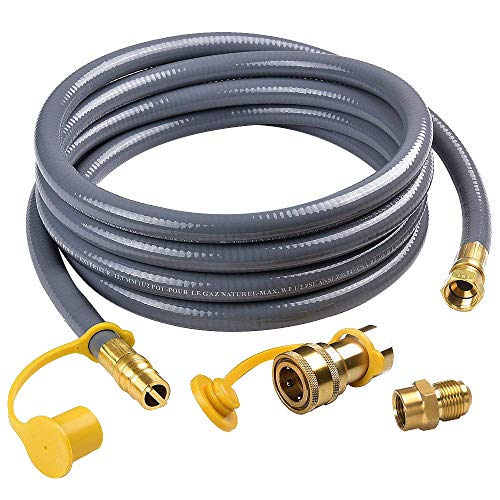 SHINESTAR 12Feet 1/2-inch ID Natural Gas Hose with Quick Connect/Disconnect Fittings & 3/8 Female to 1/2 Male Adapter for Outdoor NG/Propane Appliance (20 Foot Natural Gas Quick Connect Hose)