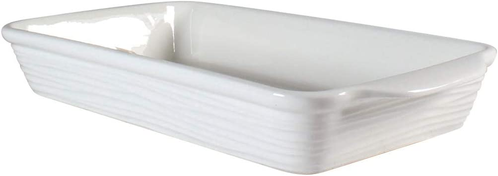 "Rectangular Baker by CIROA | 11 x 6"" Large 2 Quart White Ceramic Baking Dish Ripple Design"