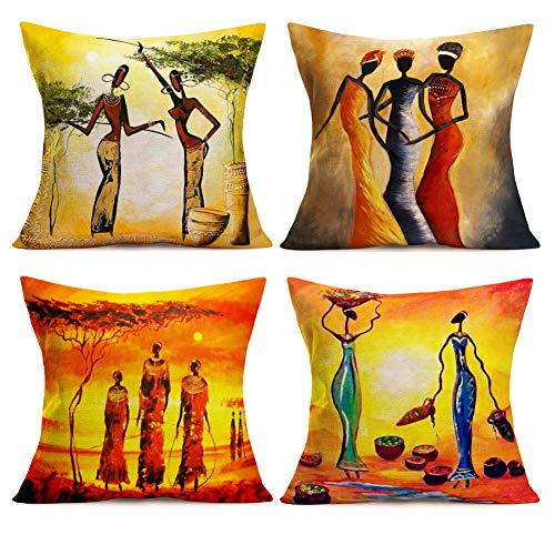 SmilyardAfrican Decor Throw Pillow Covers Cotton Linen Oil Painting African Women Print Outdoor Pillow Covers Cushion HomeDecorations 18x18 Inch Set of 4 Couch Pillow Case (Woman Set) ()