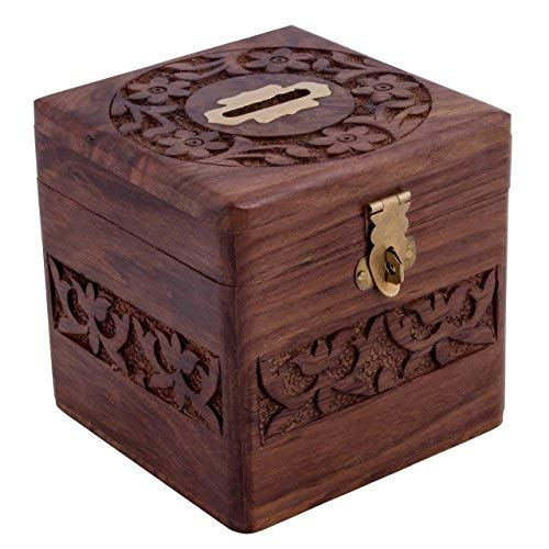 Indian Glance Beautiful Handmade Wooden Money Bank Safe Box in Square Shape - Piggy Bank Birthday Gifts for Girls | Boys
