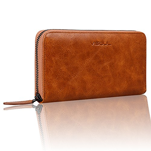 - Mens Genuine Leather Long Wallet Large Capacity Cash Purse with Zipper Pocket (Orange)