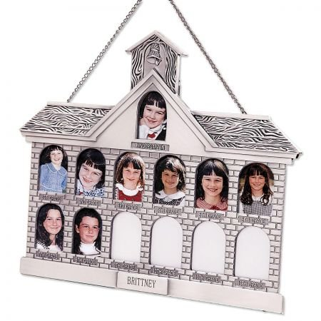 Lillian Vernon Personalized Silver Schoolhouse Picture Frame - Display Kindergarden Through High School ()