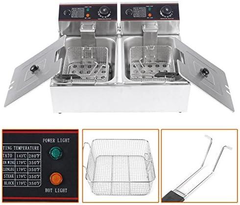 Electric Fryer 2 roestvrijstalen dubbele bodem, 220-240 V, met 2 roestvrijstalen frituurmanden met temperatuurregelaar en roestvrijstalen afdekking, afneembaar
