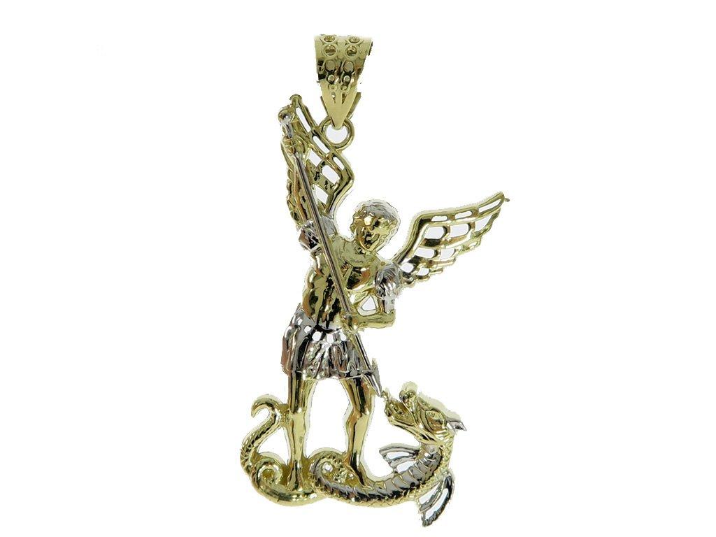 10K Yellow Gold Saint Michael 1.7 Inch Protection Hip Hop Charm Pendant